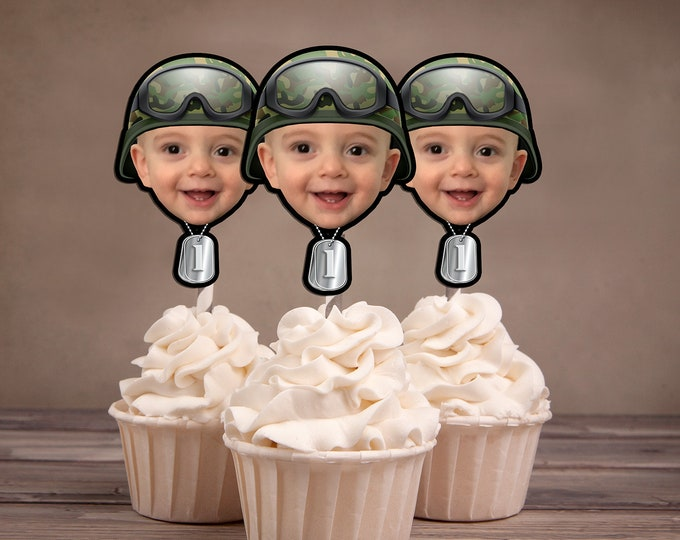 Soldier photo Cupcake Toppers Digital File - Military, Army, birthday, ,Birthday Party, first birthday, , 1st, Army decor