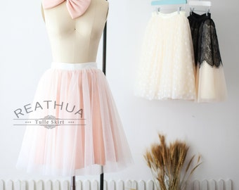 Ivory Tulle Skirt/Blush Pink Sequin Skirt/Short Women Tulle Skirt/TUTU Tulle Skirt/Wedding Bridal Bridesmaid Skirt/Knee Skirt/