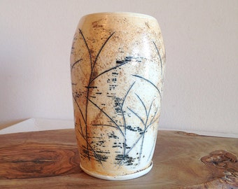 Vintage Studio Pottery Vase Abstract Meadow