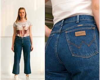 Vintage Wrangler Jeans Jeans talle alto Wrangler recortada Jeans cintura alta 30 mujeres cultivo pierna Jeans pequeña media pierna recta Jeans W30 S M