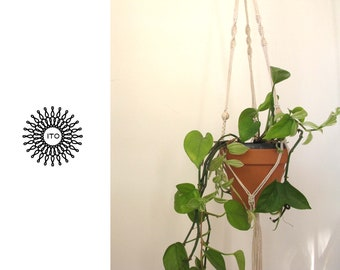 macrame cotton plant hanger with wood beads/long/natural wood/