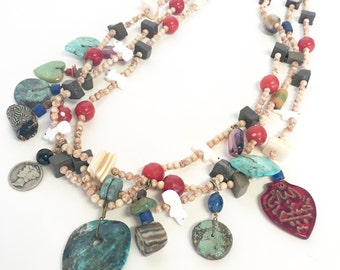 ON SALE—Vintage Native American Treasure Necklace