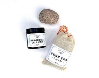 Pampering Pedicure Gift for Her - Pedicure in a Jar, Feet Tea, Natural Pumice Stone // best selling // gift wrap