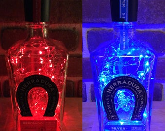 Herradura Tequila Upcycled Handmade LED Lights Bottle Lamp, Accent Table Lamp, bar party lamp, gift for him or her