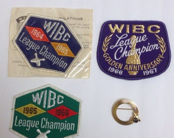 Vintage 1960s Bowling award Patches and a Pin Brooch