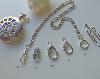 Silver Pocket Watch Chain - 10-15 inches - 9 Clasp combinations - (swivel, spring ring, lobster, pant hook), Watch Accessory
