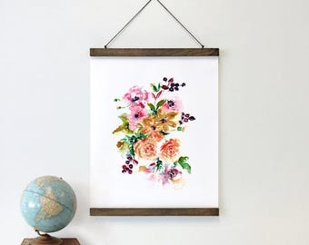 Framed Watercolor Wall Art - Rose Watercolor Art, Floral Bouquet, Floral Framed Art, Fine Art Print, Ready to Hang, Purple & Pink Floral Art