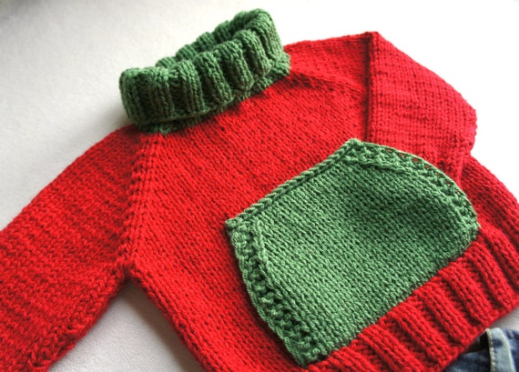Red and green sweater for children turtle neck with pocket