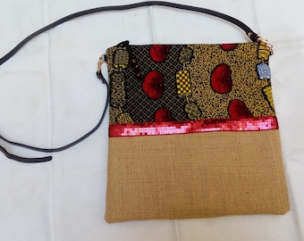 Burlap and wax with red sequin trim shoulder bag