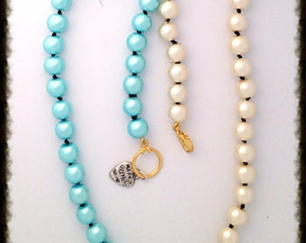 Handmade MWL French Knotted Blue and White Pearl Necklace. 0310
