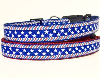 July 4th - Memorial Day - Stars and Stripes Dog Collar - Flag - American - USA - Puppy - dog gift - holiday -