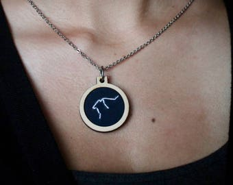 Zodiac Constellation Embroidery Hoop Necklace
