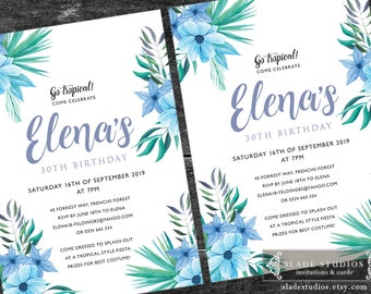 Tropical birthday party invitations printable. Blue, green, turquoise watercolour floral.