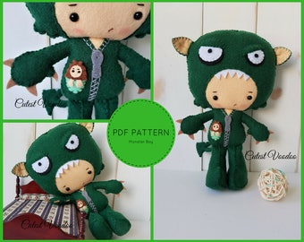 PDF PATTERN. Monster Boy Gothic Doll PDF Felt Pattern