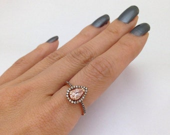 Pear Shaped Morganite Ring in 14K Rose Gold with Champagne Diamonds and Black Rhodium Finish Alternative Engagement Ring