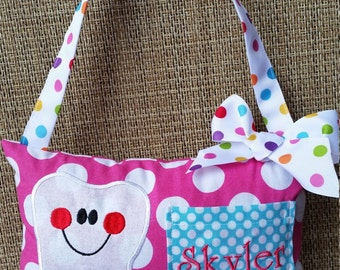 Girls appliquéd Tooth Fairy pillow with pocket and embroidered name (Can be made in other fabrics)