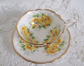 Royal Stafford Tea Cup & Saucer Yellow Peony