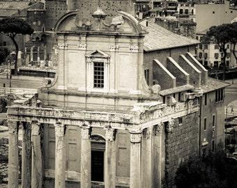 Rome Italy -  Roman Forum - Architecture - Black and White - Sepia - Fine Art Photograph - Temple of Romulus