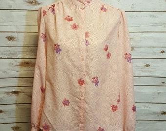 Vintage, 60's Polka dot paisley pink blouse, Medium/Large