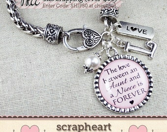Personalized AUNT Gift, The Love Between an AUNT and a NIECE is Forever Bracelet, Personalized Gift for Niece, Aunt Niece Jewelry Bracelet