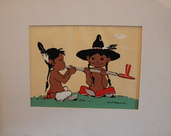 "Vintage Native American Silkscreen Print Titled ""Peace Maker"" by Gerome"