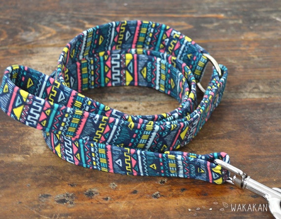 Leash for dog model Ethnic. Handmade with 100% cotton fabric and webbing. Two width available. Wakakan