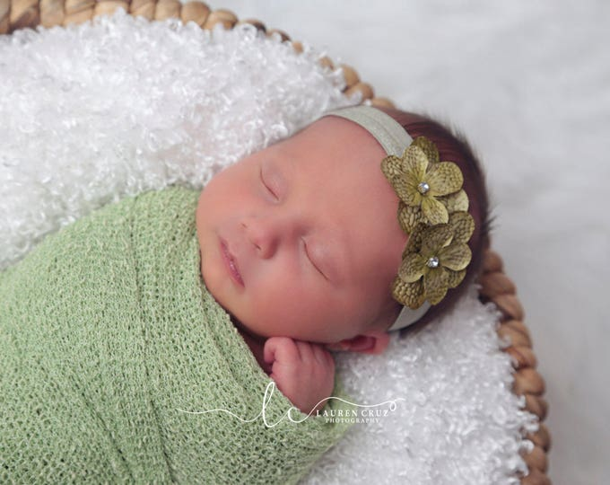 Celery Colored Stretch Knit Swaddle Wrap AND/OR Hydrangea Headband, newborn wrap, bebe foto, infant photoshoots, by Lil Miss Sweet Pea