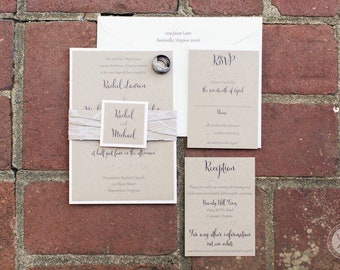Invitation Suite- Kraft and Ivory Wedding Invite with Lace and Twine Belly Band.