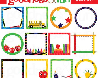 Buy 2, Get 1 FREE - School Day Frames Clipart - Digital Back To School Clipart - Instant Download