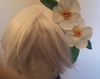 Tiki hair flower, Tiki Oasis, Hibiscus, White Hibiscus, Flower clip, Flower, Hair flower, Pinup, Tiki wedding
