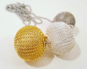 Adriana Gold Silver Gunmetal  Mesh 3 Bead Necklace