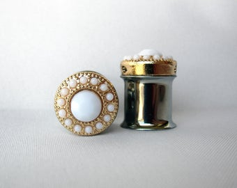 "LAST Pair of Gold and Ivory Feminine Plugs - Handmade Girly Gauges - 7/16"" (11mm)"