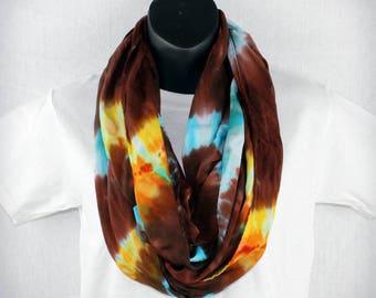 Tie Dye Infinity Scarf Tie Dye Scarf brown Scarf Turquoise Scarf