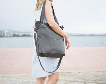 Grey canvas tote bag - Canvas laptop bag - Laptop tote bag - LARYS