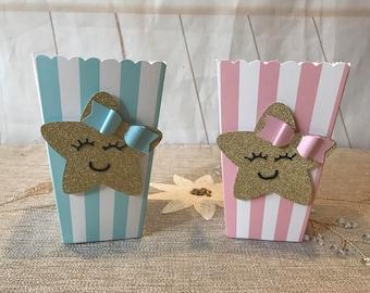 Twinkle twinkle little star mini popcorn box, Twinkle little Star goody box, Star treat box, Gender reveal  favor box. 6 ct