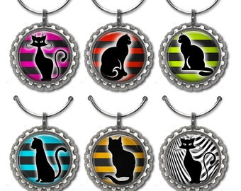 Cat Wine Charms, Wine Accessories,Hostess Gift,  Wine Lover Gift, Housewarming Gift, Cat Lover Gift