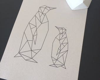 A4 Geometric Penguin Family Print