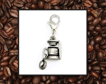 SALE! Coffee Lovers Silver Coffee Maker with Coffee Bean Dangle. Great Addition to Any Floating Charm Locket or Charm Bracelet.