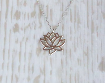 Charming Sterling Silver lotus flower necklace, lotus flower necklace, Sterling Silver necklace, silver flower, silver flower necklace