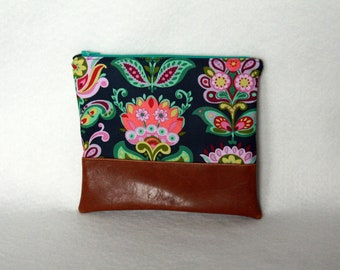 Zipper Pouch with Vinyl Accent - Amy Butler Floral Print and Brown Vinyl