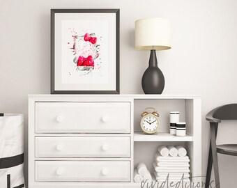 Hello Kitty Watercolor Print, Baby Girl Nursery Wall Art, Kids Room Decor, Bedroom Decor, Home Decor, Birthday Gift, No. 15