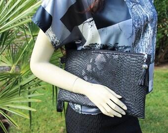 "Dress handkerchief ""Dragon"" black chic handbag dragon pattern"