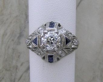 Art Deco Diamond Engagement Ring Platinum 1.14 Cts., Circa 1920