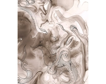 "Octopus Painting - Used to Octopus  - 8"" x 10"" Giclee Print of Black and White Painting on Yupo Synthetic Paper"