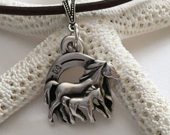 Necklace-Equestrian Pendant on Leather-Mother and Baby Horse Pendant-Distressed Brown Leather Cord Necklace-Horse Jewelry-Horse Lover