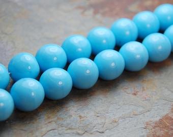 Turquoise Opaque 10mm Czech Glass Druk Beads -20 czech beads