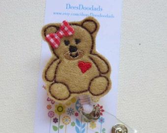 Teddy Bear Badge Reel - Retractable Badge Reel - ID Holder