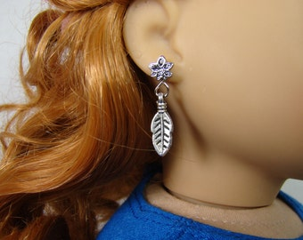 """Silver Feather Earring Dangles for 18"""" Play Dolls such as American Girl®"""