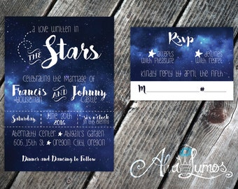 Starry Night Wedding Invitation - Under the stars wedding invitation & rsvp - Printable invitation - outdoor wedding -written in the stars