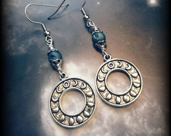 Moon Phase Earrings with Titanium Quartz Geode Beads, Hypoallergenic Hooks